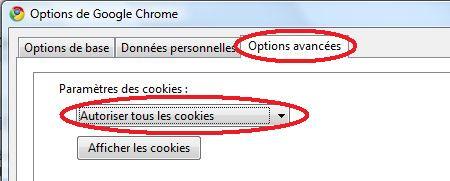 réglages des cookies sous chrome