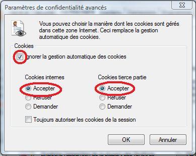 réglages des cookies sous internet explorer
